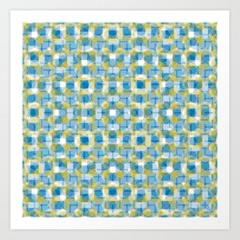 Blue & Green Pattern Art Print