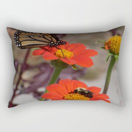 Bumble Bee and Monarch Butterfly on Red and Yellow Flower Rectangular Pillow