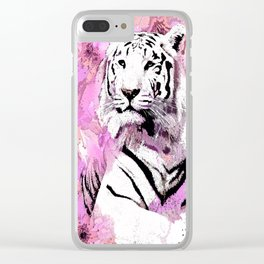 TIGER WHITE WITH CHERRY BLOSSOMS PINK Clear iPhone Case