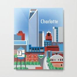 Charlotte, North Carolina - Skyline Illustration by Loose Petals Metal Print