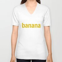 banana V-neck T-shirts featuring Banana by Imagonarium