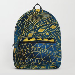 Tribal  Watercolor and Gold Pattern on blue Backpack