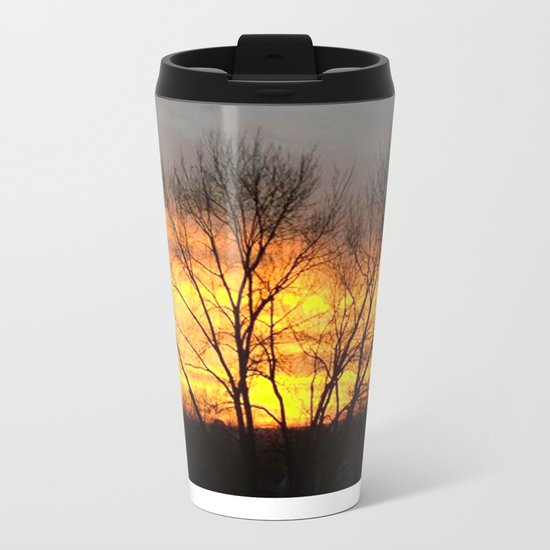Radiant Sunset Metal Travel Mug