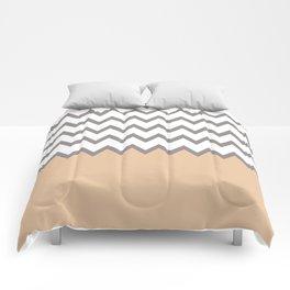zig zag chevron pattern in grey with soft pink dip-dye Comforters