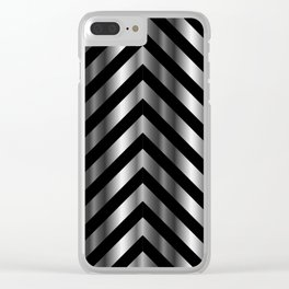 High grade raw material stainless steel and black zigzag stripes Clear iPhone Case