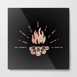 Campfire Rose Gold Flames Metal Print
