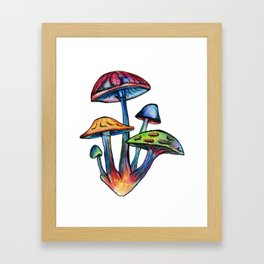 Cluster of Coloured Shrooms Framed Art Print