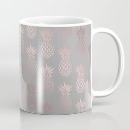Girly rose gold & grey pineapple pattern Coffee Mug