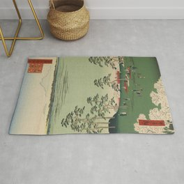 Spring Trees Mountain Ukiyo-e Japanese Art Rug