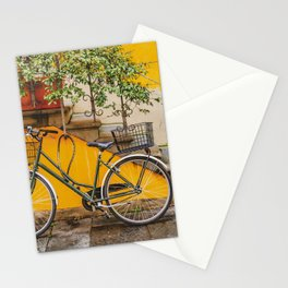 Bicycle Parked at Wall, Lucca, Italy Stationery Cards