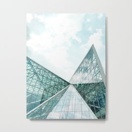 Turquoise Glass Building Metal Print