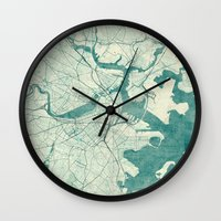 vintage map Wall Clocks featuring Boston Map Blue Vintage by City Art Posters
