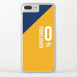 0% Fucks Given - Blue Mustard Clear iPhone Case