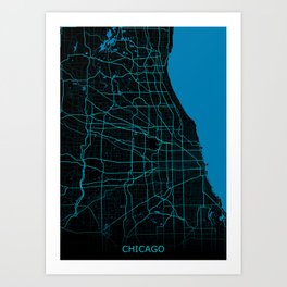 Chicago Map Night Mode Art Print