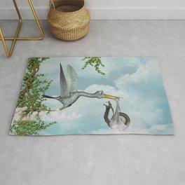 Funny stork Rug