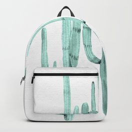 Turquoise Cactus Watercolor Painting Backpack