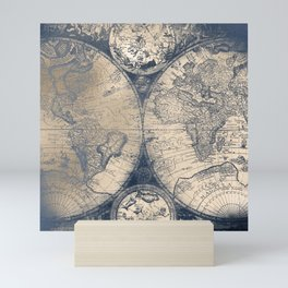 Antique World Map White Gold Navy Blue by Nature Magick Mini Art Print