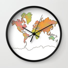 Contour Map of the World Wall Clock