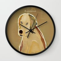 golden retriever Wall Clocks featuring golden retriever dog modern by bri.buckley