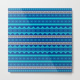 Embroidery Romanian Motifs Neon Blue Metal Print
