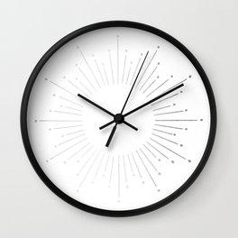 Sunburst Moonlight Silver on White Wall Clock