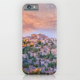 French Hilltop Village Gordes, Vaucluse, France at sunset landscape painting iPhone Case