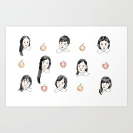 Childrens and apples Art Print
