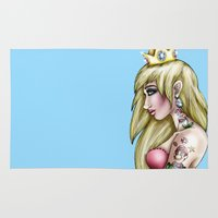 princess peach Area & Throw Rugs featuring My Hero - Tattooed Princess Peach by Hungry Designs