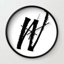 Letter W Ink Monogram Wall Clock