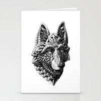 german shepherd Stationery Cards featuring German Shepherd by BIOWORKZ