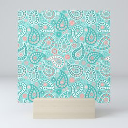 Turquoise and Coral Paisley Mini Art Print