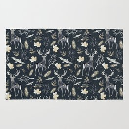 Deer and birds. Dark pattern Rug