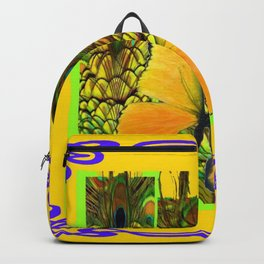 ART NOUVEAU YELLOW BUTTERFLY PEACOCK FEATHERS Backpack