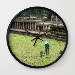 Trimming Grass With a Machete, Angkor Thom, Siem Reap, Cambodia Wall Clock