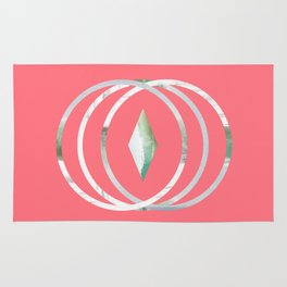 Minimalist Waves in Watermelon Rug