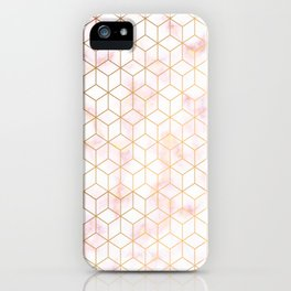 Geometric Gold Pattern on Pink Marble iPhone Case