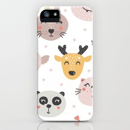 Woodland Critters Pattern iPhone Case