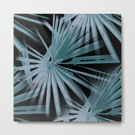 Aqua On Black Tropical Vibes Beach Palmtree Vector Metal Print