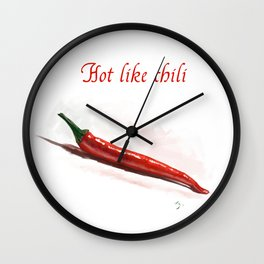 Hot like chili - digital painting Wall Clock