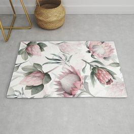 Hand Drawn Protea Flowers Pattern Rug
