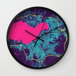 Izmir Neon City Map, Izmir Minimalist City Map Art Print Wall Clock