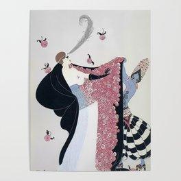 """Art Deco 1920's """"Rose Cloak"""" Illustration Poster"""
