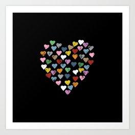 Distressed Hearts Heart Black Art Print