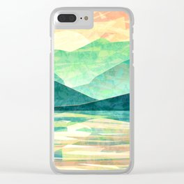 Spring Sunset over Emerald Mountain Landscape Painting Clear iPhone Case