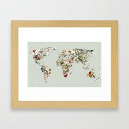 Vintage Botanical World Green Framed Art Print