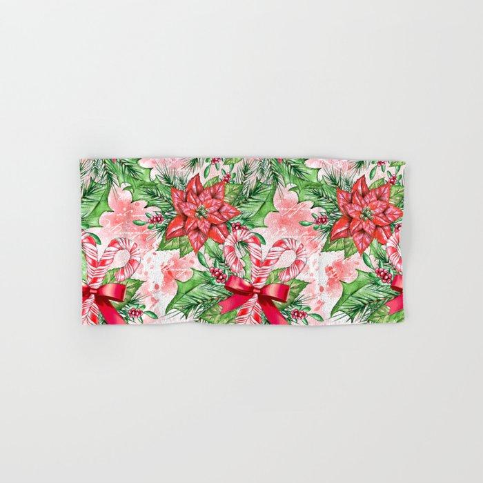 Poinsettia & Candy cane Hand & Bath Towel