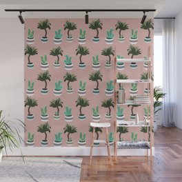 Yucca and cacti in planters pattern Wall Mural