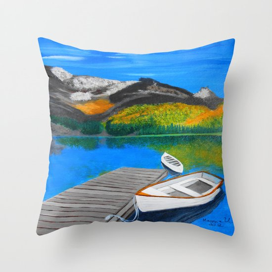 Summer day on the lake  Throw Pillow