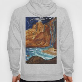 Moon Bathing Babes - Watercolor painting of Earth and Ocean Goddesses Hoody