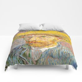 Self-Portrait with a Straw Hat - Vincent Van Gogh Comforters